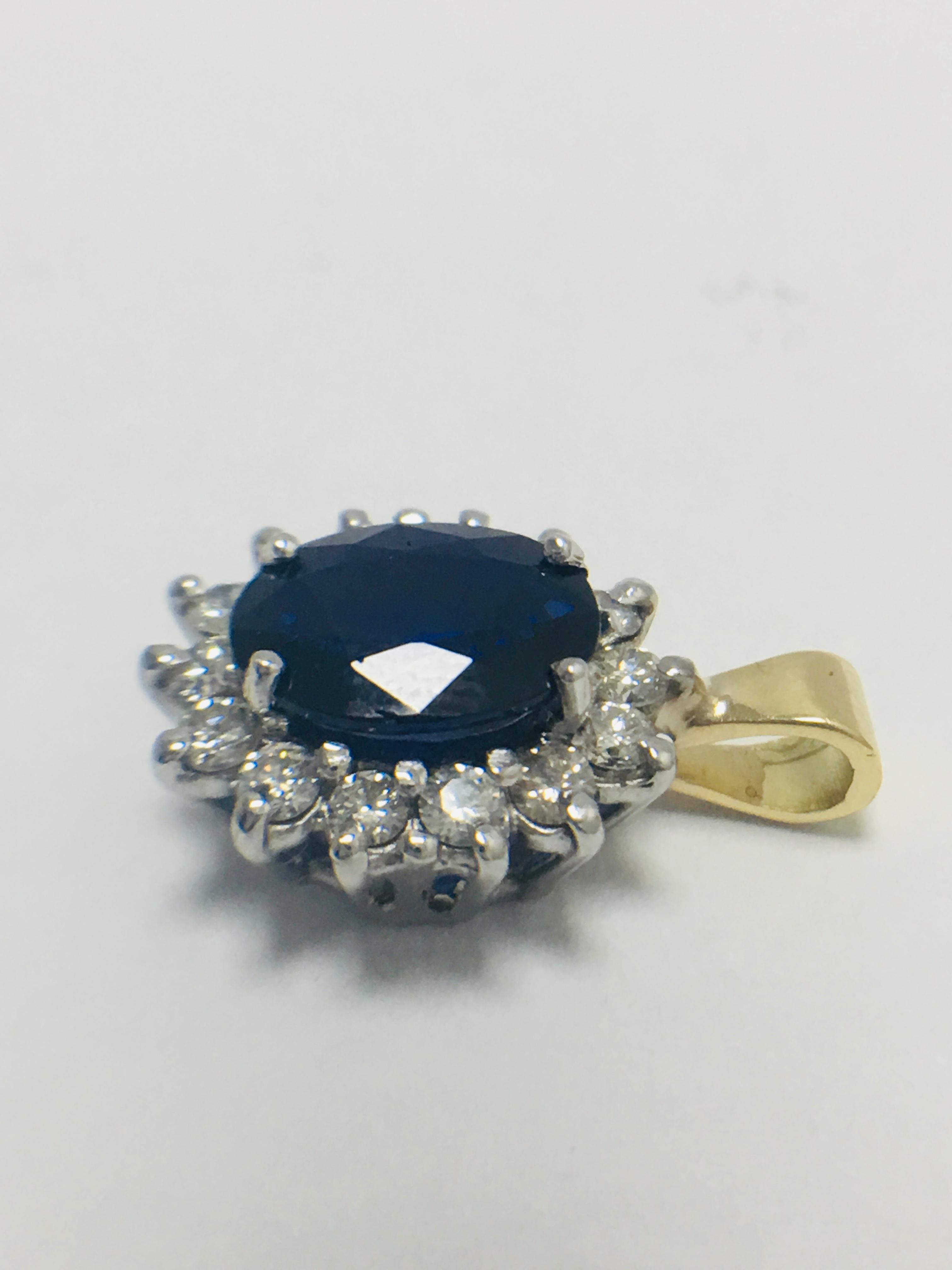 Lot 29 - Sapphire and Diamond Pendant,18ct Gold