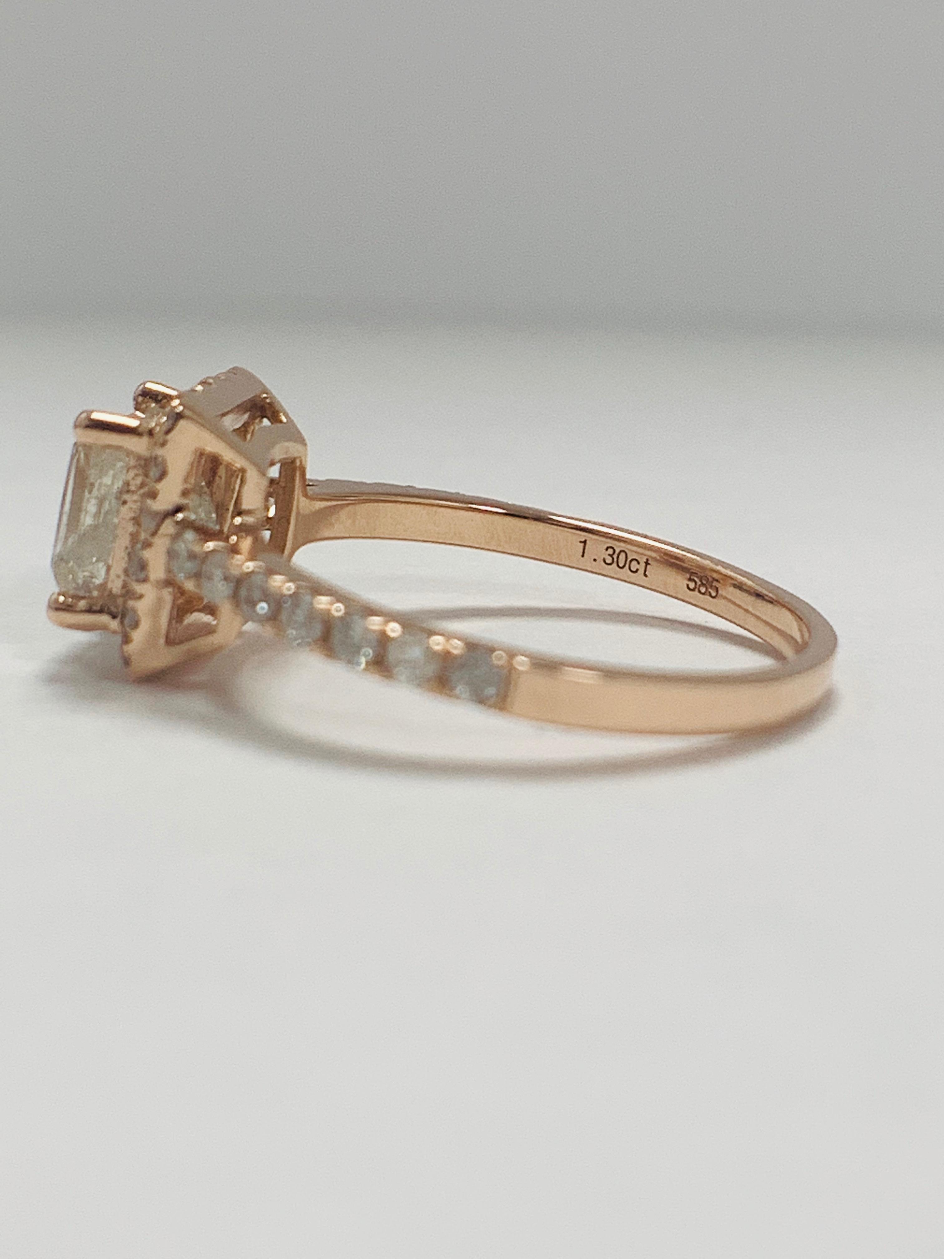 Lot 60 - 14ct Rose Gold Diamond ring featuring centre, princess cut Diamond (1.30ct)