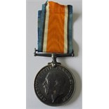 British War Medal named to 1569 Private O.G. King, Essex Regiment. With copy Medal index card, later