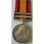 Queens South Africa Medal, two clasps, Natal and Belfast named to 3372 Private J.E.H. Grain, 5th