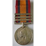 Queens South Africa Medal, three clasps, Cape Colony, Orange Free State and Transvaal named to