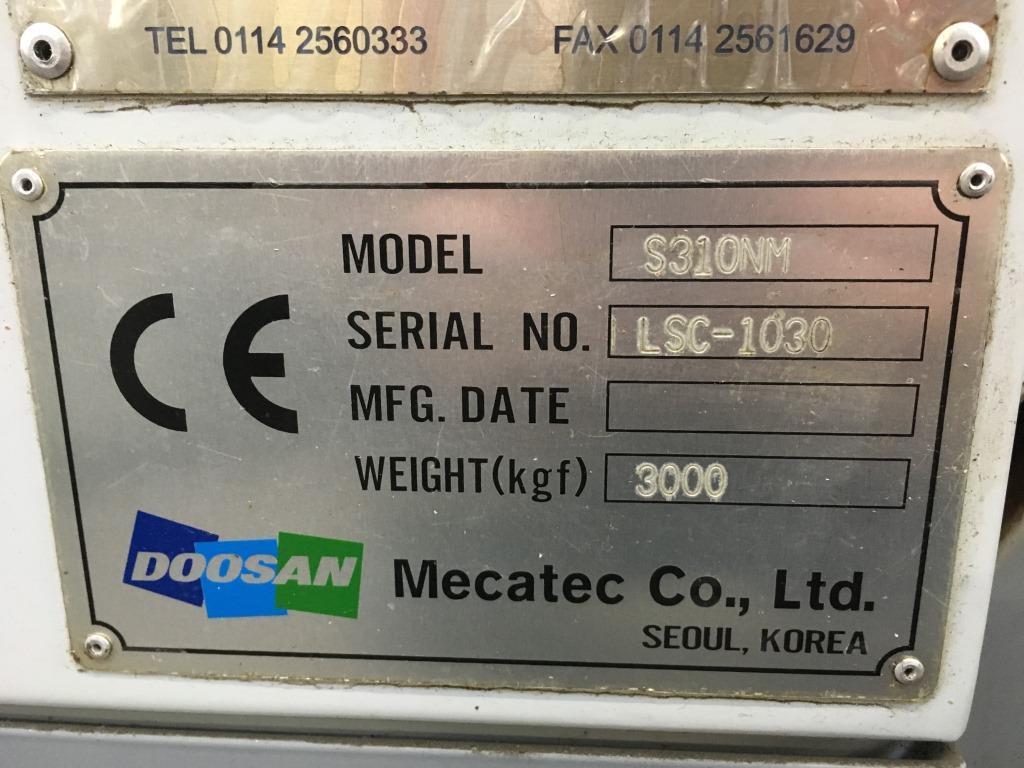Lot 6 - Doosan Mecatec S310NM CNC lathe with FANUC Series 21i TB control and 12 tool changer, Serial No.
