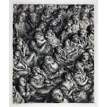 Andreas Paul Weber. Publikum. Tuschpinsel, laviert. Um 1960. 42,0 : 34,8 cm (56,0 : 47.7 cm).