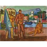 Werner Gilles. Drei Männer am Hafen. Öl auf Malkarton. [1941]. 49,5 : 64,5 cm. Signiert. Das Motiv