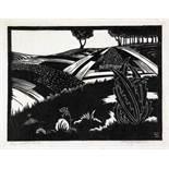 Hugo Johnsson. Die Landschaft. 10 Linol-Schnitte. Um 1920. Ca. 20 : 23 cm. Signiert und