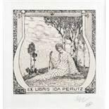 Heinrich Vogeler. Exlibris Ida Perutz. Radierung. 1904. 10,0 : 8,0 cm (20,8 : 15,0 cm).