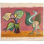 Werner Gilles. Die Verliebten. Öl auf Leinwand. [1951]. 23,0 : 32,5 cm (28,5 : 32,5 cm). Signiert.