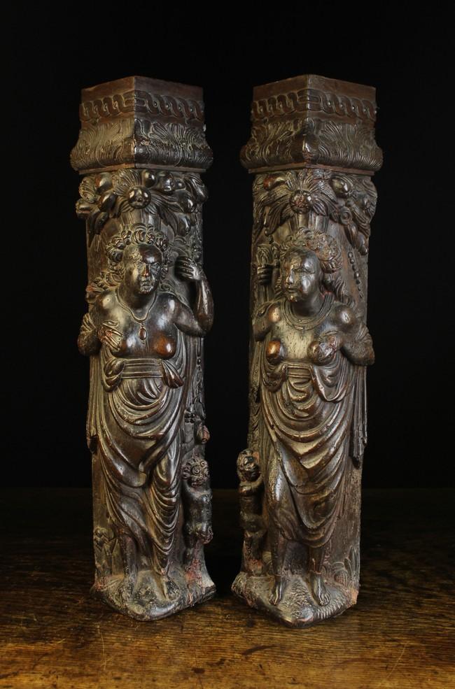 Lot 41 - A Pair of Renaissance Carved Oak Figural Corner Posts.
