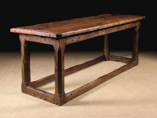Lot 53 - A Rare 17th Century & Later Yew wood Refectory Table.