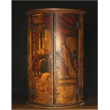 An 18th Century Painted Bowfront Hanging Corner Cupboard.