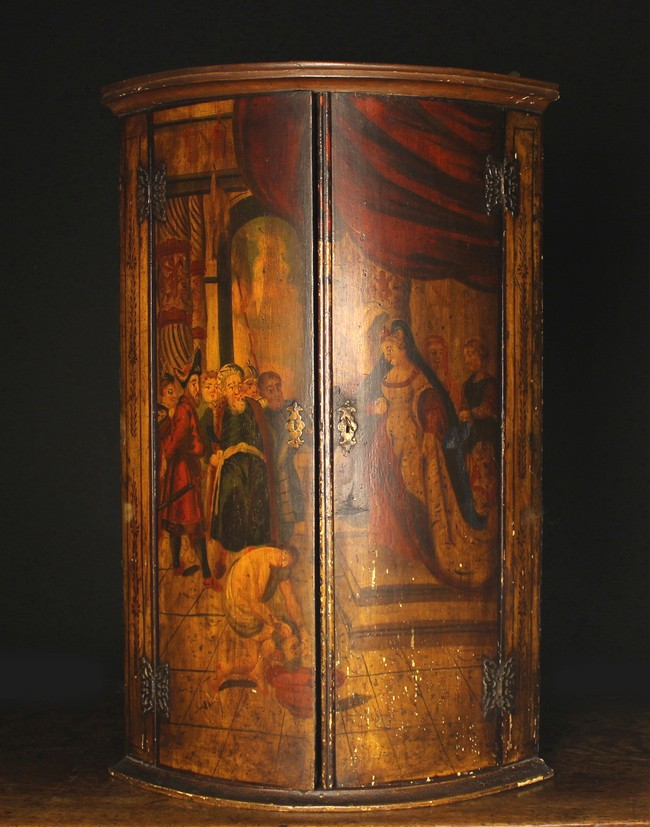 Lot 100 - An 18th Century Painted Bowfront Hanging Corner Cupboard.