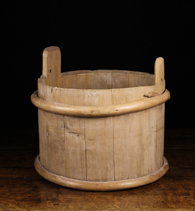 Lot 72 - A Wooden Bucket composed of Pine Staves bound in willow withies;