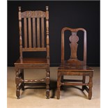 Two Odd Chairs: A Charles II oak back stool with a foliate carved cresting rail,