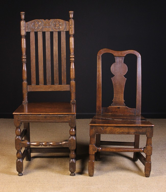 Lot 117 - Two Odd Chairs: A Charles II oak back stool with a foliate carved cresting rail,