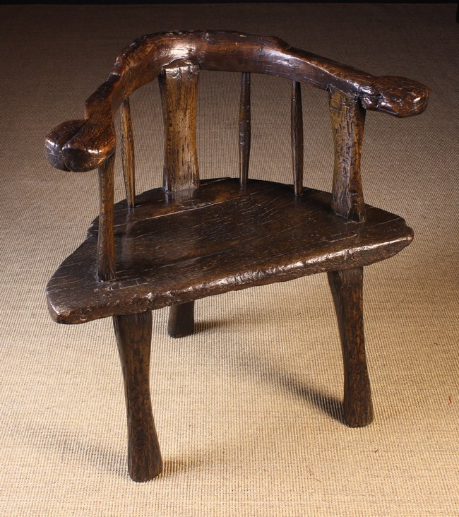 Lot 61 - A Fabulous, Imposing 18th/Early 19th Century Primitive Chair of rich colour and patination.