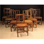 A Group of Seven Various Plank-seated Chairs; late 18th-mid 19th century.