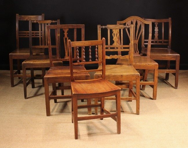 Lot 113 - A Group of Seven Various Plank-seated Chairs; late 18th-mid 19th century.