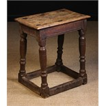 A Late 17th/Early 18th Century Oak Joint Stool with a moulded top on baluster & reel turned legs