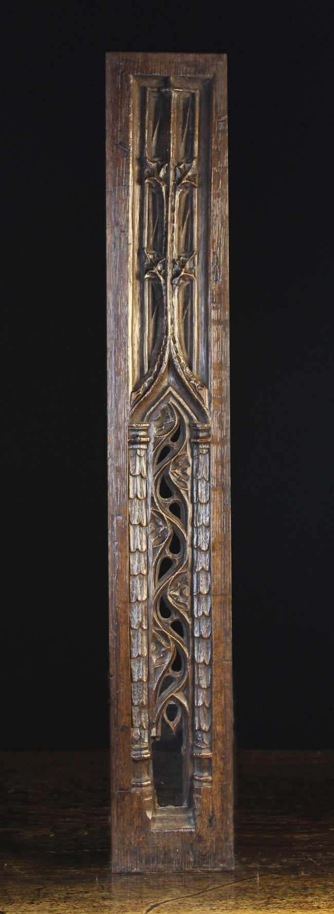 Lot 4 - A 15th Century Narrow Pierced Gothic Panel with crocketted spires,