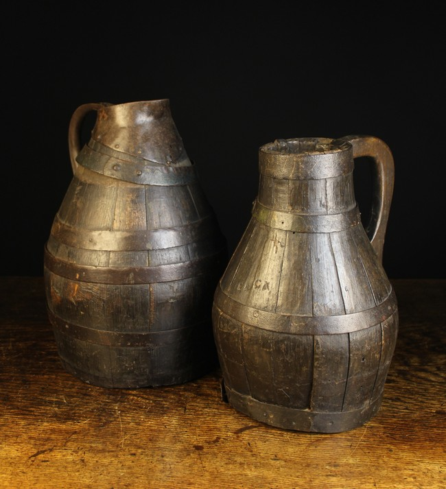 Lot 51 - A Pair of Large 18th/Early 19th Century Coopered Oak Jugs bound in iron straps;