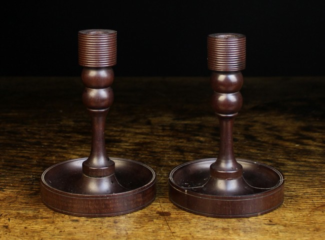 Lot 120 - A Pair of Unusual 19th Century Treen Candlesticks.