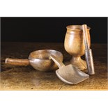 Three Pieces of Treen: An early 19th century turned fruitwood Pestle & Mortar;