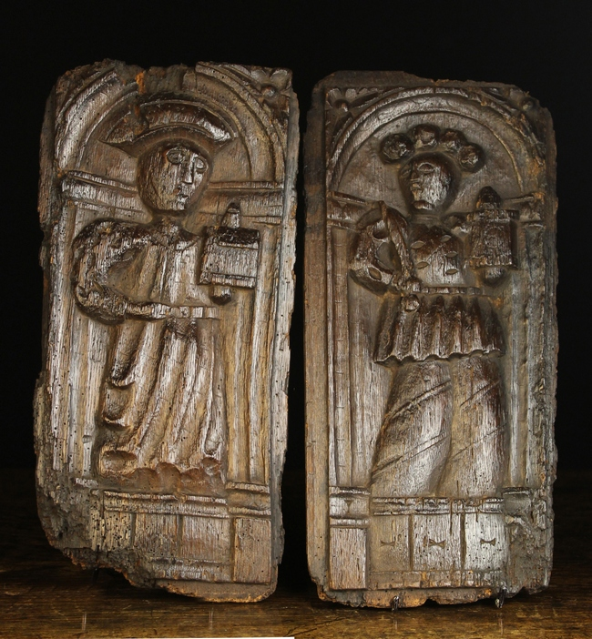 Lot 39 - A Pair of 16th Century Naively Carved Oak Panels.