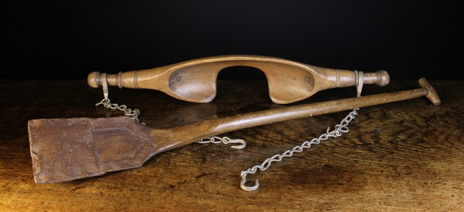 Lot 81 - An 18th Century Birch & Iron Spade with typical long shaft and small handle,