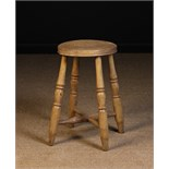A Turned Bleached Beechwood Kitchen Stool.
