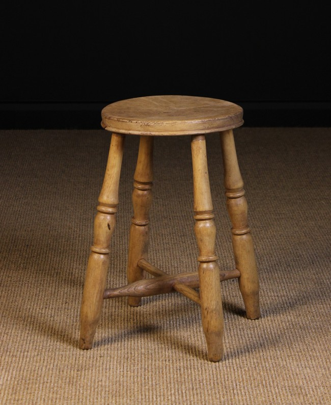 Lot 82 - A Turned Bleached Beechwood Kitchen Stool.