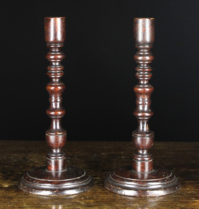 Lot 104 - A Pair of Large 19th Century Turned & Painted Treen Candlesticks.