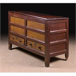 A Late 18th Century Panelled Pine Mule Chest with residual paintwork.