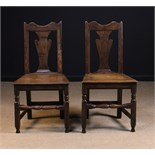 A Pair of Early 18th Century Joined Oak Side Chairs.
