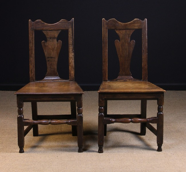 Lot 94 - A Pair of Early 18th Century Joined Oak Side Chairs.