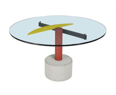 An occasional table, unmarked, late 20th century, in the manner of Ettore Sottsass, yellow, red and black painted steel, glas