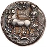 Sicily, Messana. Silver Tetradrachm (17.05 g), ca. 412-408 BC Choice VF. The nymph Messana driving