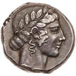 Sicily, Leontinoi. Silver Tetradrachm (17.17 g), ca. 460-450 BC Superb EF. Laureate head of Apollo