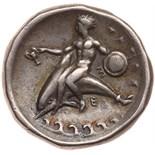 Calabria, Taras. Silver Nomos (7.72 g), ca. 340-335 BC Choice VF. Nude ephebe on horseback right,