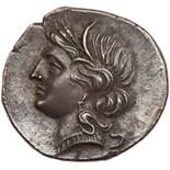 Bruttium, Carthaginian occupation. Silver 1/2 Shekel (3.75 g), ca. 215-205 BC EF. Second Punic War