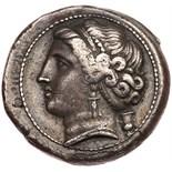 Campania, Neapolis. Silver Nomos (6.92 g), ca. 275-250 BC Choice VF. Head of nymph left, hair held