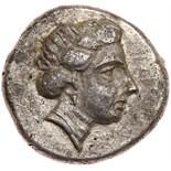 Crete, Phalasarna. Silver Drachm (5.09 g), ca. 300-270 BC Nearly EF. Head of Artemis Diktynna right,