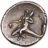 Calabria, Taras. Silver Nomos (6.19 g), ca. 280-272 BC Choice VF. Zo, Apollo. Warrior on horseback