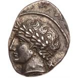 Etruria, Populonia. Silver 10 Asses (3.88 g), ca. 300-250 BC EF. Laureate head of Aplu left; behind,