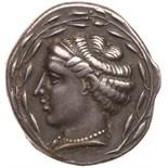 Bruttium, Terina. Silver Nomos (7.58 g), ca. 440-425 BC Choice VF. Head of the nymph Terina left,