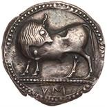 Lucania, Sybaris. Silver Nomos (7.98 g), ca. 550-510 BC Choice VF. VM in exergue, bull standing