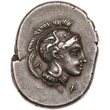 Lucania, Velia. Silver Nomos (7.48 g), ca. 440/435-400 BC EF. Head of Athena left, wearing Attic