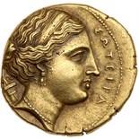 Sicily, Syracuse. Time of Agathokles, 317-289 BC. Electrum 100 Litrai (6.61g) EF. Struck ca. 304-289