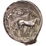 Sicily, Syracuse. Second Democracy. Silver Tetradrachm (17.10 g), 466-405 BC EF. Ca. 450 BC.