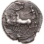 Sicily, Kamarina. Silver Tetradrachm (16.92 g), ca. 425-405 BC Choice VF. Athena driving galloping