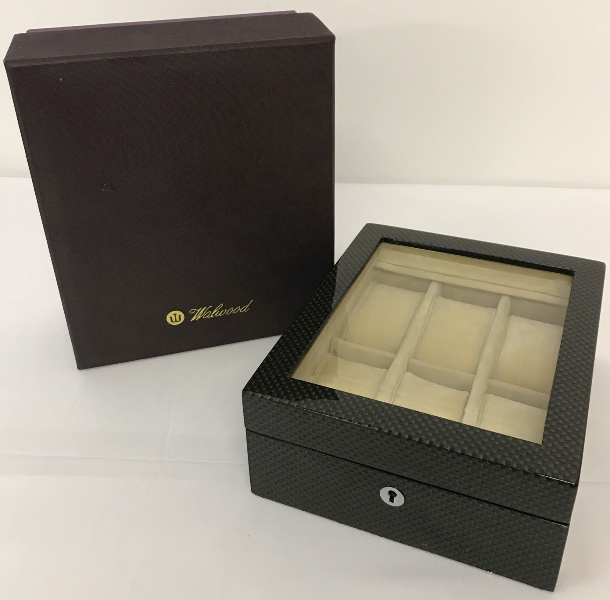 Lot 64 - A new boxed Walwood watch box in a geometric design and high gloss finish.